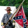 Civil war confederate soldier holding a flag — Stock Photo #57730295