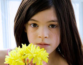 Closeup portrait of beautiful little girl — Stock Photo