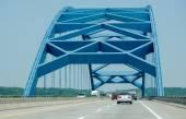 Blue bridge from iowa to nebraska — Stock Photo
