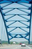 Modern blue bridge — Stock Photo
