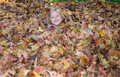 Adorable girl  in a pile of fall leaves — Stock Photo