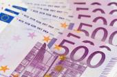 Stack of money with large 500 euro banknotes — Stock Photo