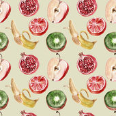 Seamless pattern with fruits. Waretcolor illustrations — Foto de Stock