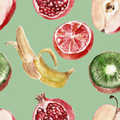 Seamless pattern with fruits. Waretcolor illustrations — Fotografia Stock