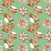 Modello senza cuciture con i biscotti di zenzero di Natale. Illustrazione dell'acquerello. — Foto Stock