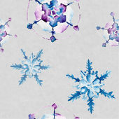 Seamless pattern with snowflakes. Watercolor illustration. — Stock Photo