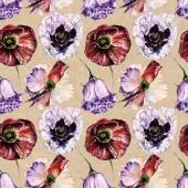 Seamless pattern with flowers. Watercolor illustration. — Stock Photo