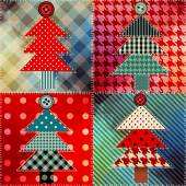 Patchwork with the Christmas tree. — Stock Vector