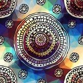 Ornament etnické kruhů na geometrické pozadí. — Stock vektor