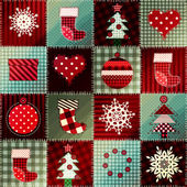Cozy Christmas pattern in patchwork. — Stock Photo