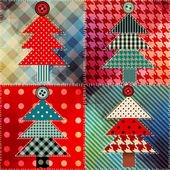 Patchwork with the Christmas tree. — Cтоковый вектор