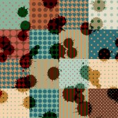 Retro patchwork with blombs. — Stockvektor