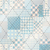 Blue patchwork with diagonal stitch. — Stok Vektör