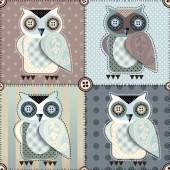 Patchwork with owls. — Stock Vector