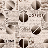 Coffee pattern in newspaper style. — Stock Vector