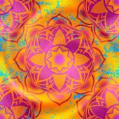 Mandala symbols pattern on orange blur background — Cтоковый вектор