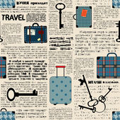 Imitation of newspaper with suitcases and word travel. — Stock Vector