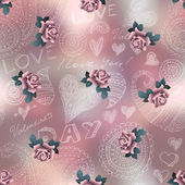 Doodles Valentines day pattern on blur background and roses. — Stockvector