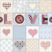The word Love in patchwork style. — Stock Vector
