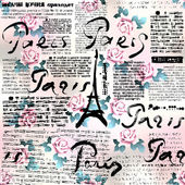 Newspaper Paris with roses. — Stock Vector