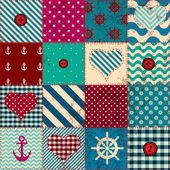 Patchwork in nautical style — Stock Vector