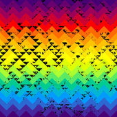 Grunge triangles pattern on rainbow colorful background. — Stockvector
