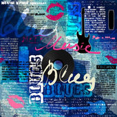 Grunge blue newspaper with original inscriptions Blues and music — Stock Vector
