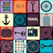 Travel background with wheels and suitcases. — Stock Vector #67642179