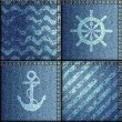 Patchwork of denim fabric in marine style. — Stock Vector #68898047