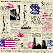 Newspaper New York with the sketch statue of Liberty — Stock Vector