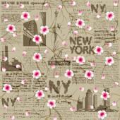 NY cherry blossom — Stock Vector