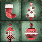 Christmas pattern in patchwork style. — Stock Vector