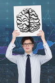 Placard with drawing brain — Foto de Stock