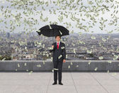 実業家と立ち下がりドル — ストック写真