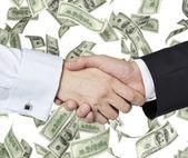Handshake and banknote — ストック写真
