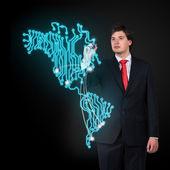 Businessman  drawing map — Stock Photo