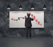 Candlestick chart on placard — Stock Photo