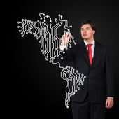 Businessman  drawing map — Stock Photo
