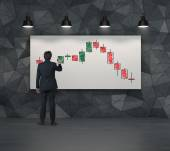 Color candlestick chart on placard — Stock Photo