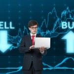 Businessmen holding laptop — Stock Photo #61088069