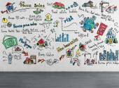 Strategy drawing on wall — Stock fotografie