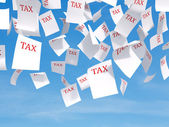 Tax papers flying — Stock Photo