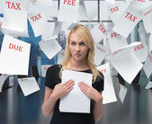 Businesswoman with paper — Stock Photo