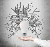 Lightbulb with microcircuit — Stock Photo
