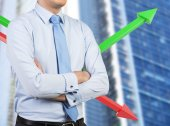 Businessman and color chart — Stock Photo