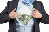 Shirt with many dollars — Stock Photo