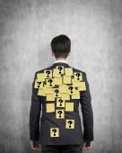 Man with yellow sticker — Stock Photo