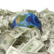 Globe and many hundred dollar — Stock Photo #64716479