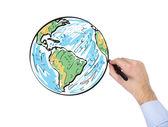 Hand drawing globe — Stock Photo