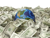 Globe and many hundred dollar — Stock Photo